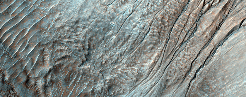 Colorful Gullies in an Unnamed Crater Southeast of Uzboi Valles