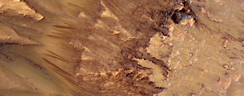Características en un pendiente en una pared de Cráter Newton