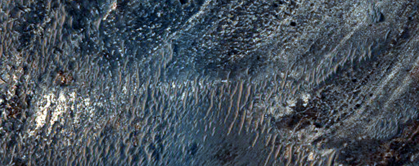 Layers and Ridges in Crater in Meridiani Planum