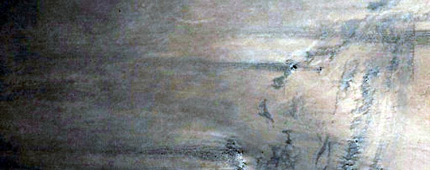 Western Arabia Terra Layered Exposure in Crater Wall