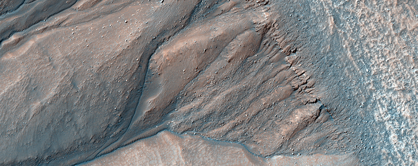 Crater Rim with Bedrock Layers and Gullies