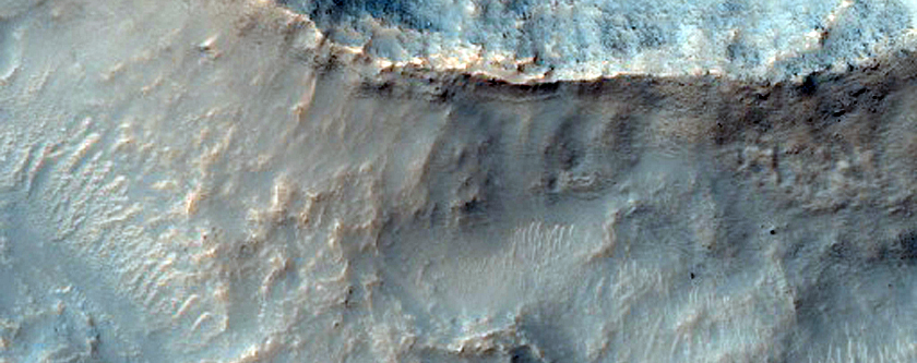 Ridges and Mesa in Crater in Northern Icaria Planum