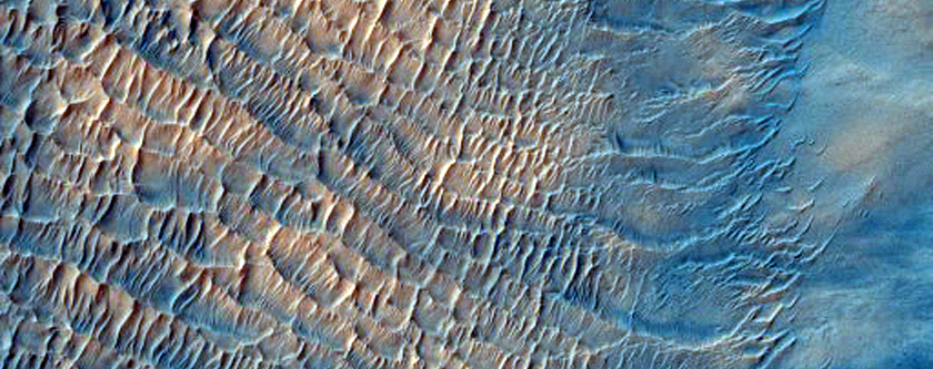 Crater with Possible Dunes and Streaks