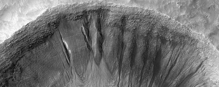 Gullies with Varied Shapes on a Crater Wall