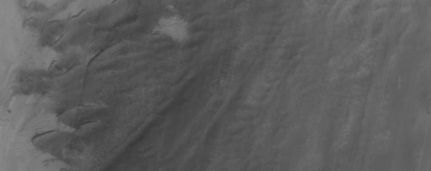 Seasonal Change of Dunes in South Crater