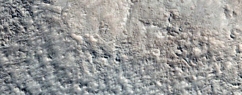 Fractured Crater Near Alba Patera