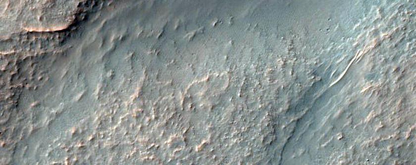 Gullies on Rim of Crater Near Argyre Planitia