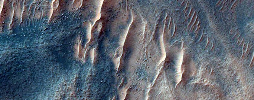 Gullies in Crater Near Kaiser Crater Dunes