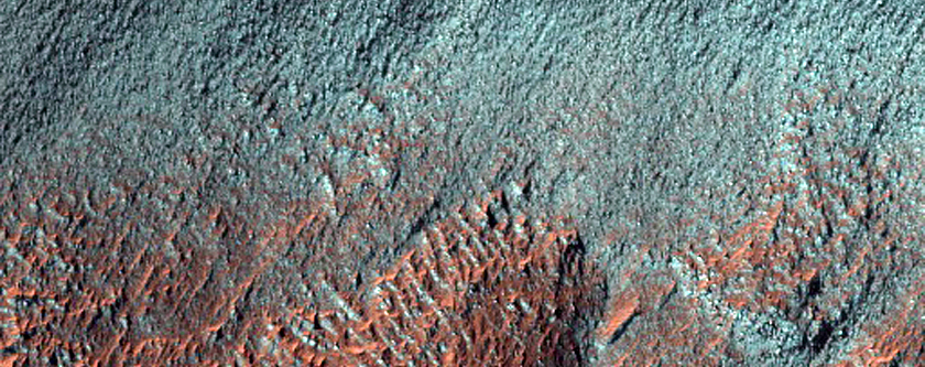 Gully Apron in Crater, As Seen in MOC Images S13-03106 and R18-00535