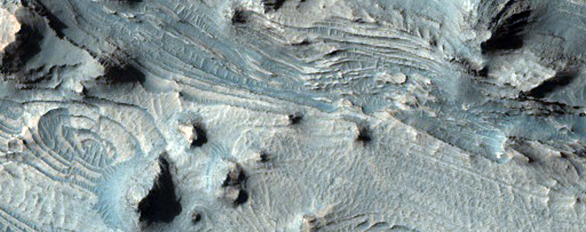 Layered Rock Outcrops in Southwest Candor Chasma