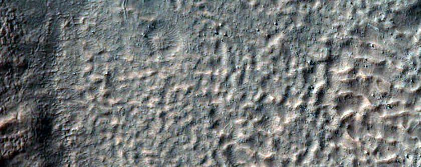 Scarp and Channels in a Crater in Terra Cimmeria