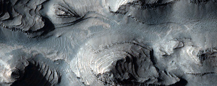 Layered Rock Outcrops in Southwest Candor Chasma, in MOC Image FHA-01278