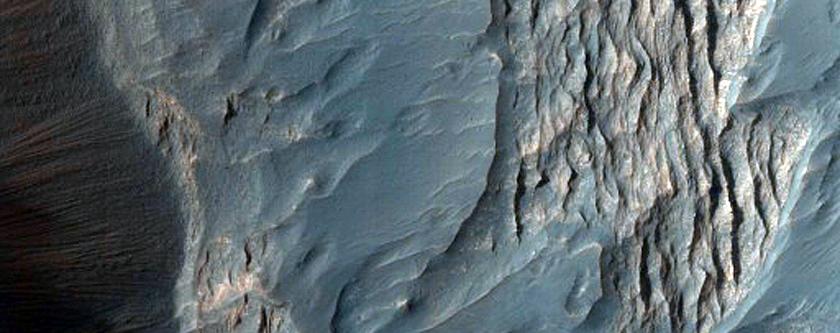 Layers and Dark Debris in Melas Chasma