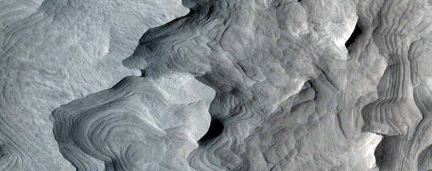 Layered Deposit in a Small Crater within Schiaparelli Crater