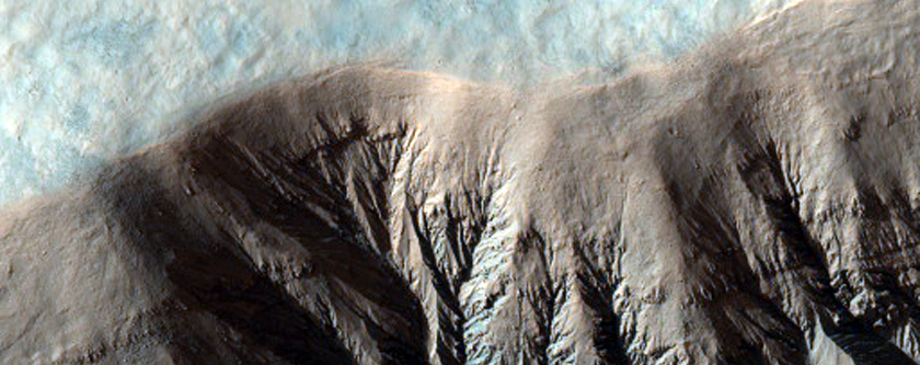 Southern Hemisphere Crater with Gullies