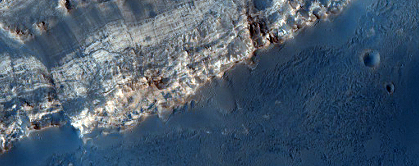 Layers and Fault in Crater in MOC Image R19-01820