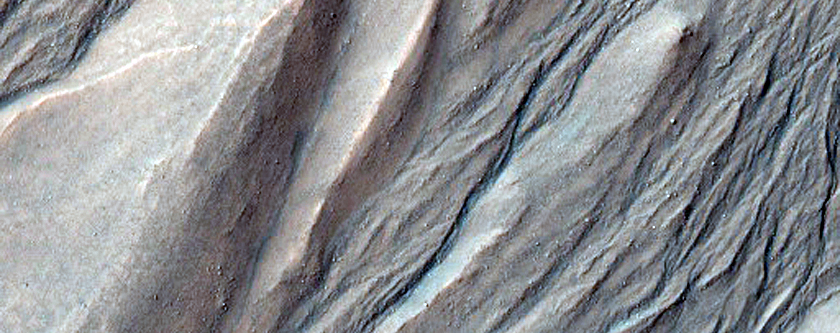 Fresh-Looking Gully in Wall of Massif