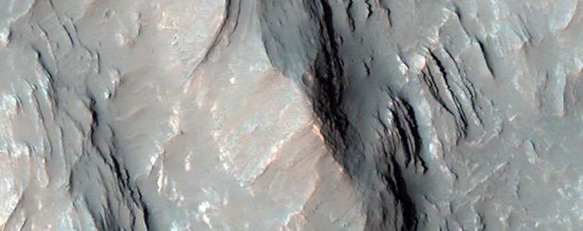 Layered Bedrock Exposed in the Central Uplift of Martin Crater