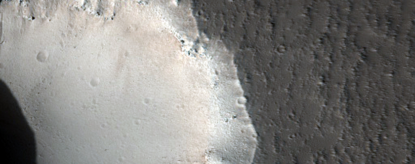 Pit Crater Chain in Cutting Lava Flow in Southwest Alba Patera