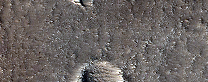 Pit Crater Chain Cutting Lava Flow in Southwest Alba Patera