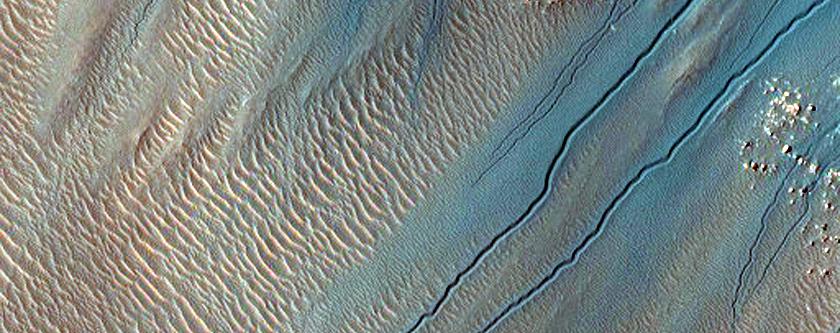 Gullies in Crater in South Aonia Terra