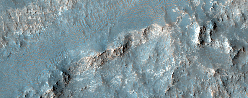 Donde alguna vez fluyó agua sobre el borde del Cráter Holden