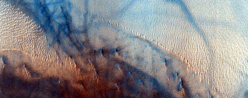 Subset of Gullies Previously Identified in Dunes in MOC Image M19-01170