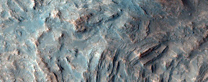 Layers Exposed in the Central Uplift of an Unnamed Crater