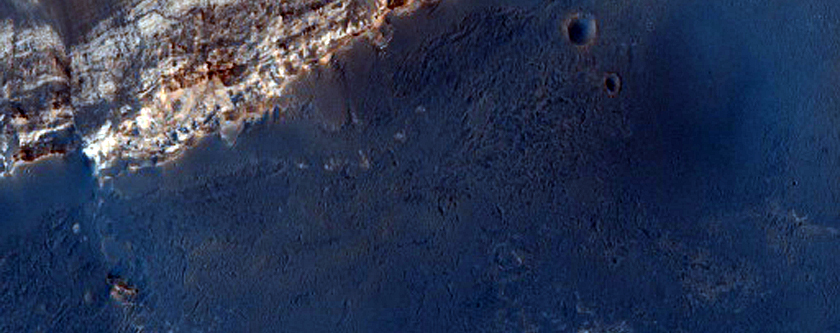 Layers and Fault in Crater Seen in MOC Image R19-01820