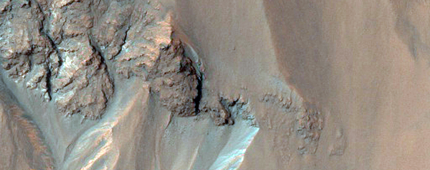 Big Gullies Or Ravines in Northern Wall of Hale Crater