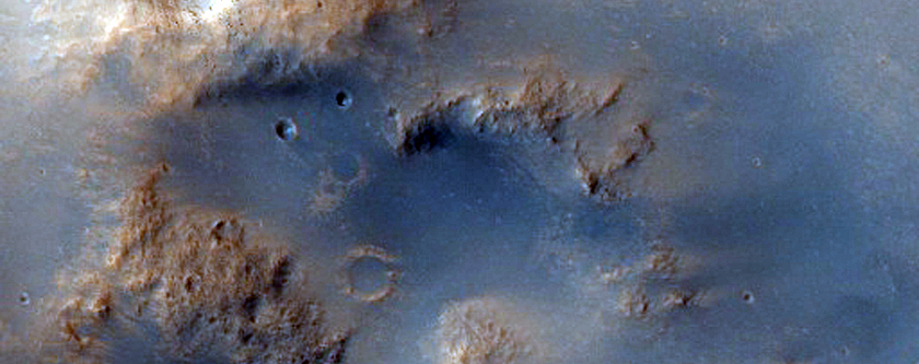 Crater East of Huygens Crater with Valleys Flowing in