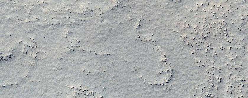 Small Dome Associated Wth Possible Ancient Volcano Near Sisyphi Planum