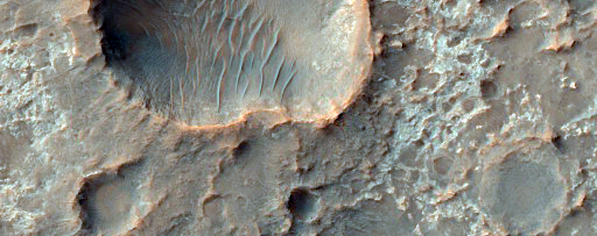 Possible Ancient Salt Deposits within Unnamed Crater in Terra Cimmeria