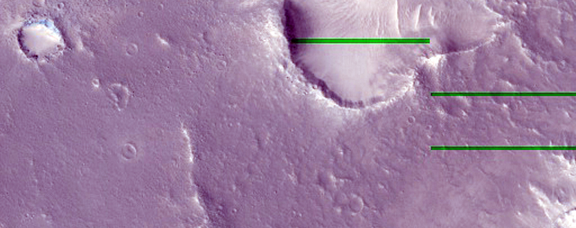 Small Remnant Mesas in Crater in Arabia Region