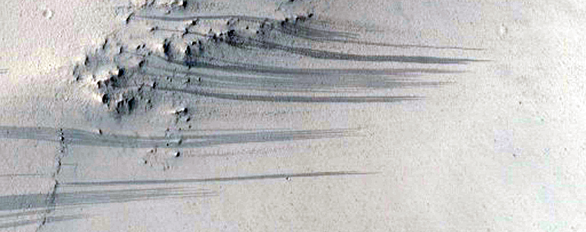 Slope Streaks on the Rim of Henry Crater