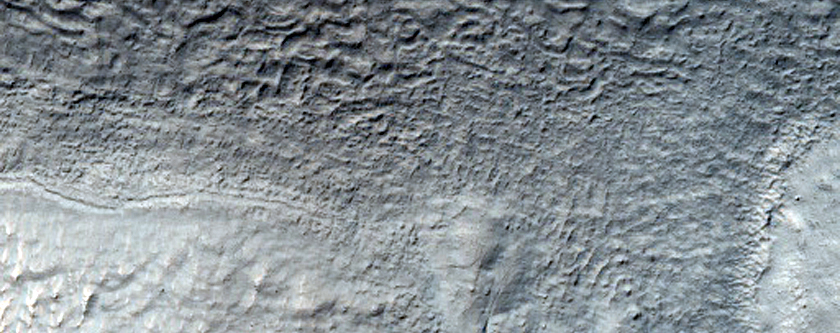 Crater with Gullies Seen in MOC E14-00006