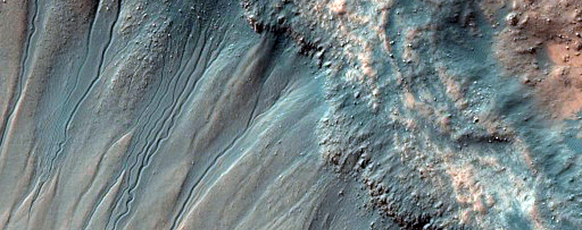 Gullied Crater in Kaiser Crater Dune Field