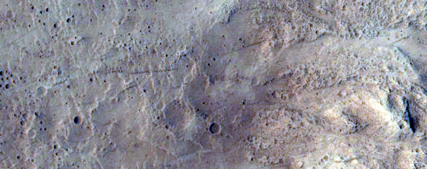 Columnar Jointing Exposed in An Impact Crater in Marte Vallis