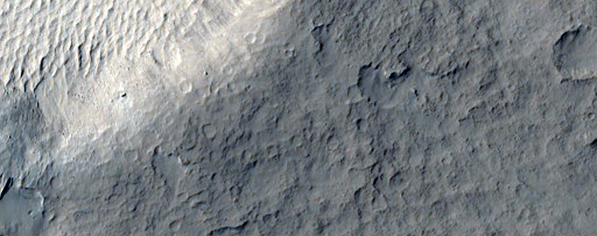Pedestal Crater and Platy-Ridged Terrain in Southwest Amazonis Planitia