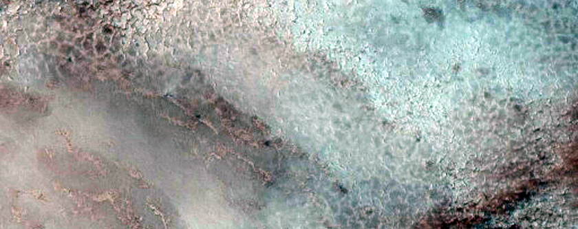 Changing Frost Patterns in Louth Crater