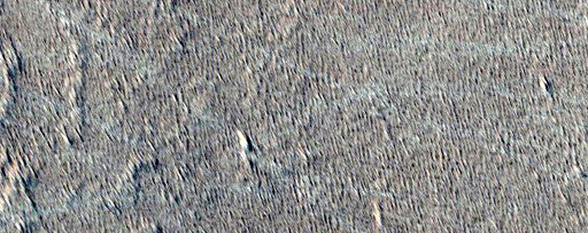 Un flusso di lava proveniente da Pavonis Mons