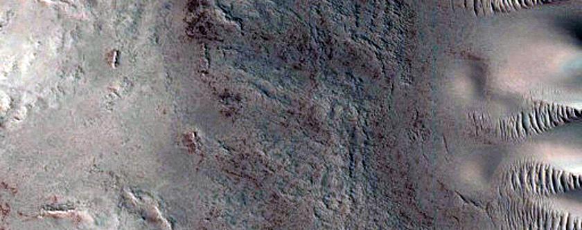 Crater Near Circumpolar Dune Field
