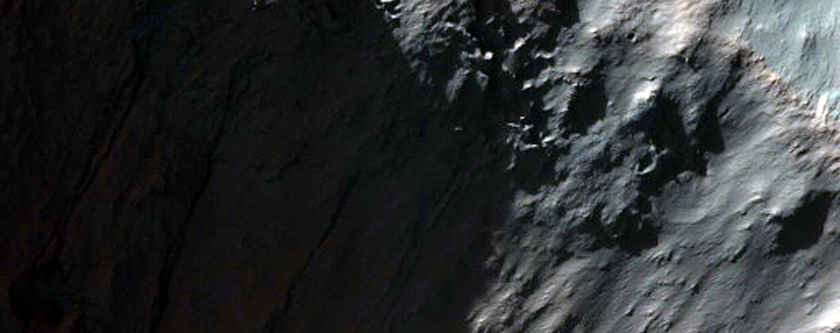 Gully Channel Cutting Crater on Larger Crater Wall in MOC Image S16-00615