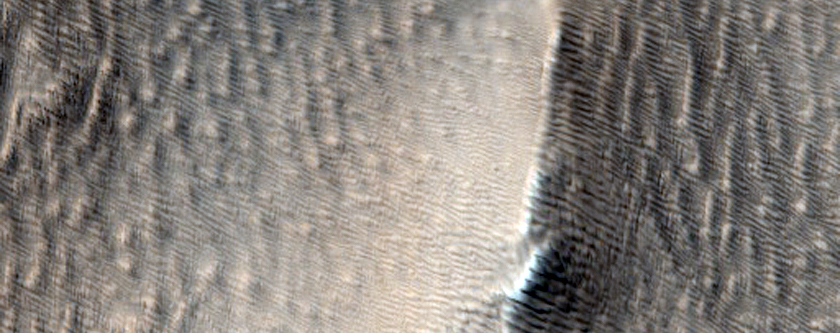 Fuzzy-Looking Landscape Near Tharsis Montes