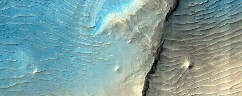 Dark Materials on Block in Olympus Mons Aureole