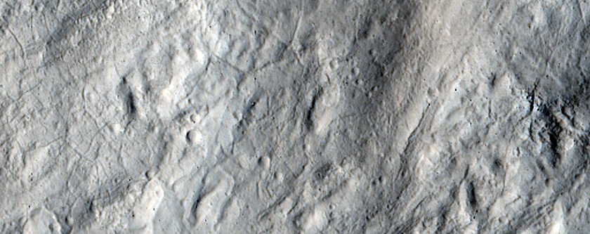 Ejecta from Unnamed Crater Near Hrad Vallis