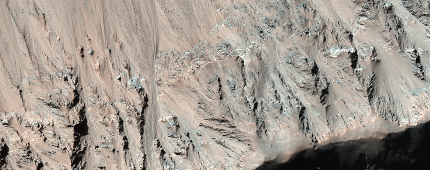 Gullies and Bedrock Exposures in Impact Crater Wall