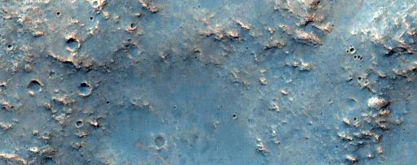 Crater Rim and Ejecta in Tyrrhena Terra