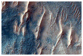 Gullies in Crater Near Kaiser Crater Dunes