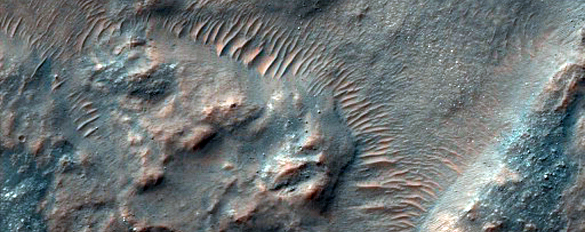 Gullies in Crater as Seen in CTX Image
